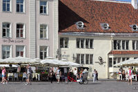 Restaurants and street cafés at the Town hall square in the Estonian capital Tallinn