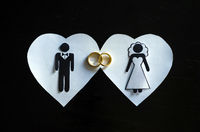 Great concept of love, marriage and complicity. Papeu clipping, heart shape with bride and groom ins