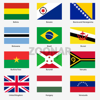 Set  Flags of world sovereign states. Vector illustration. Set number 3.