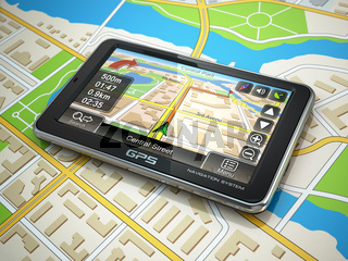 GPS navigation system on the city map.