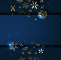 Blue Winter Poster With Golden Snowflakes