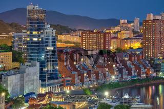 Vladivostok, Russia - Jun 11, 2020: Night view of the city of Vladivostok. Townhouses about Stanyukovich street at night.