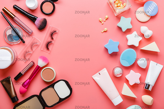 Multiple Beauty Tools On Pink Background