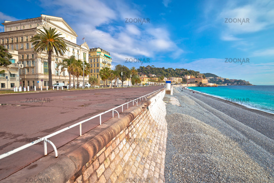 English promenade famous walkway and beach in city of Nice, French riviera