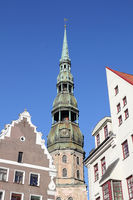 Steeple of the St. Peter's Church in Riga, the capital of Latvia