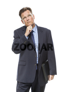 Businessman With Hand on Chin and Looking Up and Over
