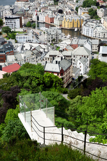 People climbing the stairs to Fjellstua in Alesund in Norway