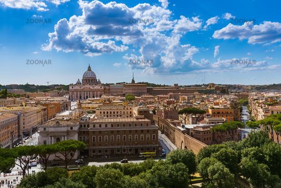 View from Castle de Sant Angelo to Vatican in Rome Italy