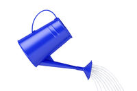 Blue watering can isolated on white