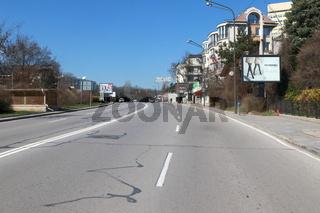Empty streets of Sofia during Coronavirus Covid-19 outbreak.