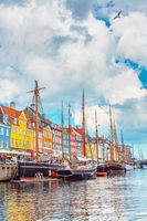 View of old Nyhavn port in the central Copenhagen