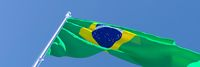 3D rendering of the national flag of Brazil waving in the wind