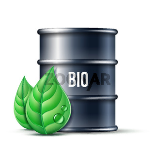 Black barrel of biofuel with word BIO and green leaves isolated on white