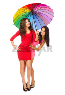 Two girls with umbrella