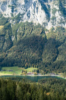 Valley view of the beautiful Hintersee, Berchtesgarden, October 2020, Germany