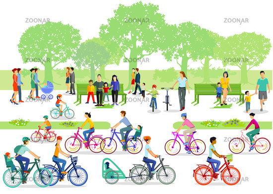 Cyclists and pedestrians in the park