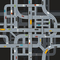 Road junctions on dark background with cars, top view seamless pattern