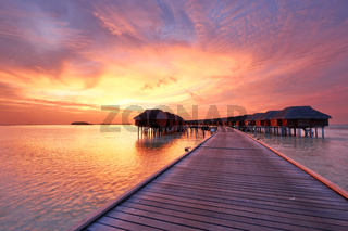 Sunset at Maldivian beach