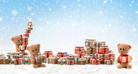 concept of Christmas. teddy bear design of christmas presents background 3d-illustration