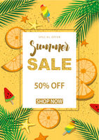 Summer Sale Banner with Symbols for Summer Time