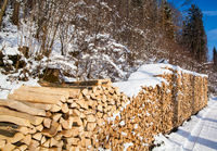Firewood stacked in winter. Wood pile with snow st
