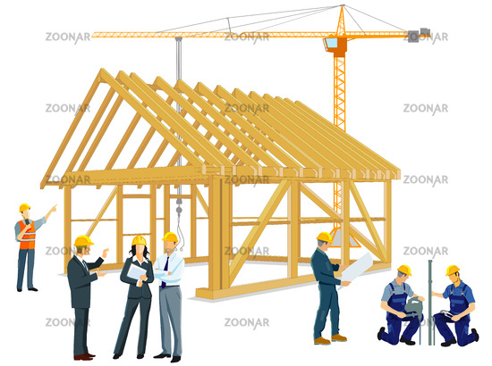 Building a wooden house with craftsmen and architects
