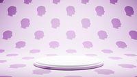 Empty White Platform on Human Head Profile Shape Pattern Studio Background