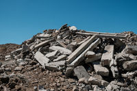 pile of concrete rubble from demolished building ruil to recycle construcion material