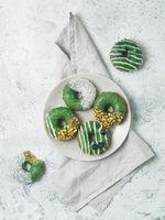 Vegan donuts topped matcha tea glaze