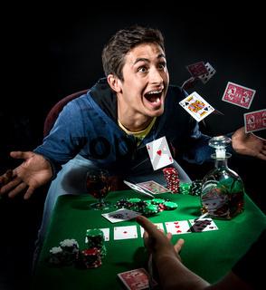 Poker player winning