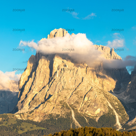 Seiser Alm, Alpe di Siusi, South Tyrol with Langkofel mountain in clouds