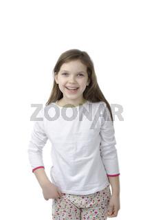 Little girl in nightwear  isolated on white