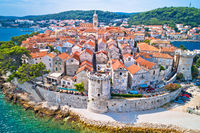 Korcula island. Historic town of Korcula aerial view