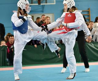 Orenburg, Russia - October 19, 2019: Girls compete in taekwondo