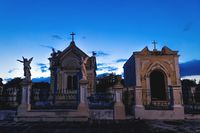 Graveyard tombs with corsses and angel statues at the cemetery 'Cementerio General' in Merida Mexico