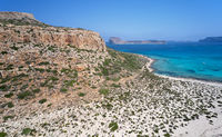 Aerial view on Tigani cape and Balos lagoon with Gramvoussa island on background. Dimos Kissamou, Chania prefecture, Crete, Greece.