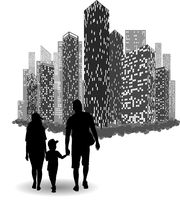 Silhouette of a family walking holding a childs hands