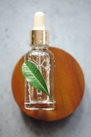 Essential oil with green leaf