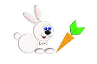 Illustration of a little rabbit and a carrot