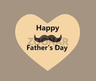 Happy father's day heart postcard congratulation template. Mustache male concept for men day. Vector illustration
