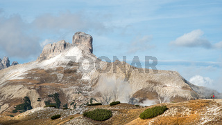 Mountain landscape of the picturesque Dolomites Torre dei Scarperi mountain in South Tyrol in Italy.