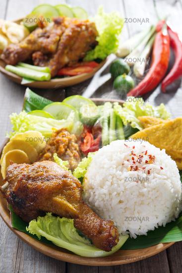 Indonesian food nasi ayam penyet
