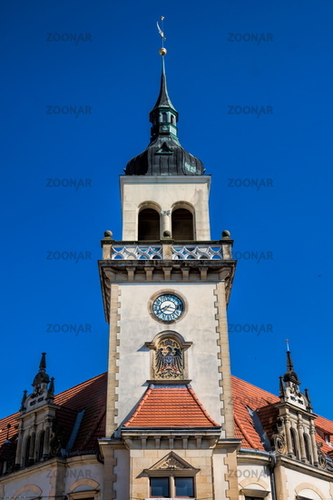 güstrow, germany - 07.06.2019 - tower of the historic post office on pferdemarkt