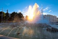 Vienna. Fountain of Hochstrahlbrunnen and street view of in Vienna