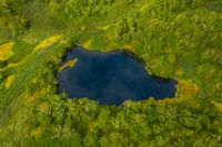 Aerial top view of blue lake In north forest