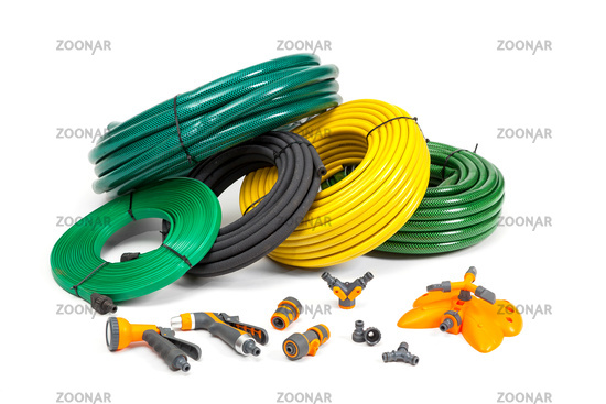 Various hoses and diffusers on an isolated background.