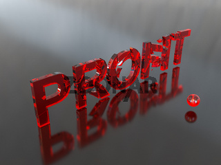 Crumbling profit in red and grey