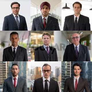 Diverse businessman people faces collage outdoors as team concept
