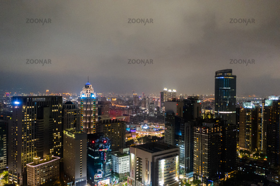 night scene with skyscrapers in Banqiao