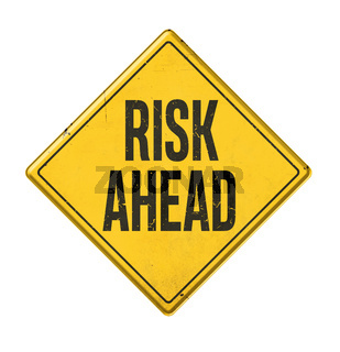 Yellow sign on a white background - Risk ahead